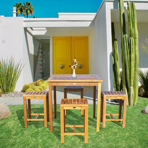 """Chic Teak 5 Piece Teak Wood Seville Medium Counter Height Patio Bistro Set, 4 Counters Stools and 35"""" Square Table"""