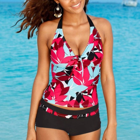 Floral Halter Boy Short Tankini Swimsuit - Plus Sizes Too