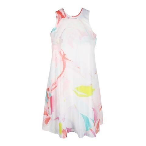 Calvin Klein Petite Blush Multi Sleeveless Floral-Print Chiffon Shift Dress 0P