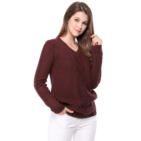 Women's V Neck Pullover Cable Knit Sweater
