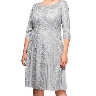 Alex Evenings Womens Plus Embroidered A-Line Dress