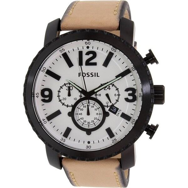 4c77096a8 Shop Fossil Men's Gage Brown Leather Quartz Fashion Watch - Free ...