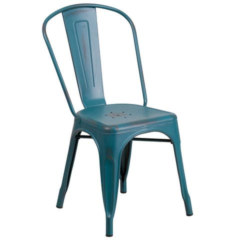 Distressed Metal Indoor-Outdoor Stackable Chair - Kitchen Furniture