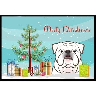 Carolines Treasures BB1592JMAT Christmas Tree & White English Bulldog Indoor or Outdoor Mat 24 x 36