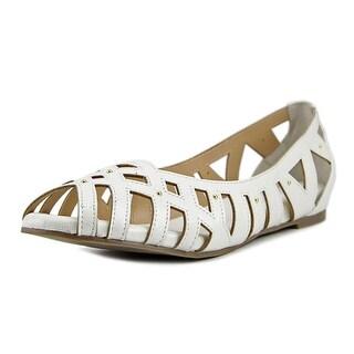 Thalia Sodi Zuly Women Peep-Toe Synthetic White Flats