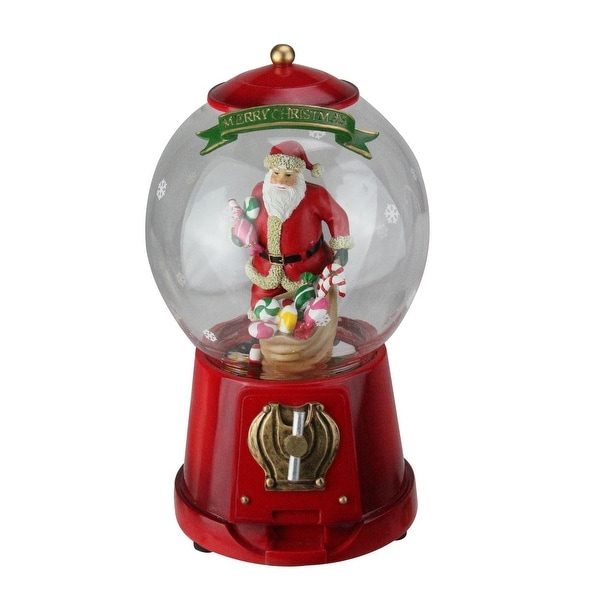 "10"" Animated and Musical Santa Gumball Machine Christmas Table Decoration"