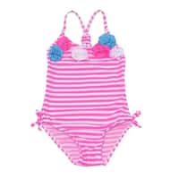 Real Love Little Girls Pink Stripe Rosette Accent One Piece Swimsuit