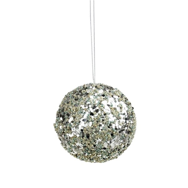 """4"""" Seasons of Elegance Teal and Gold Sequins and Beads Ball Christmas Ornament"""