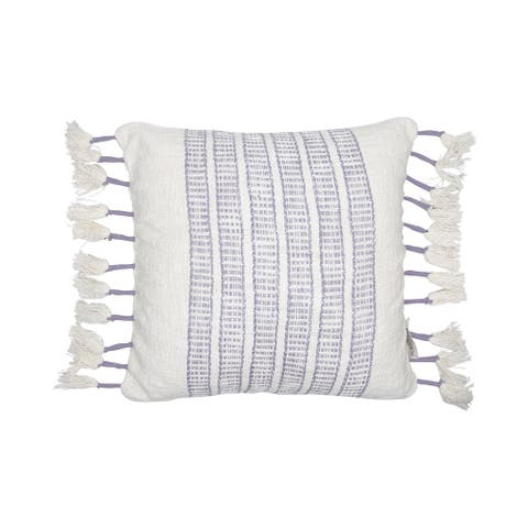Foreside Home & Garden Purple and White Hand Woven 18 x 18 inch Decorative Cotton Throw Pillow Cover with Insert