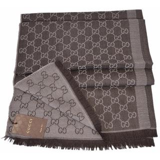 "Gucci 282390 Large Brown Sand Wool Silk GG Guccissima Scarf Muffler - 78"" x 28"""