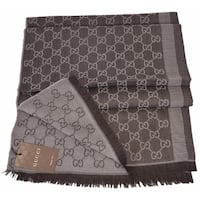 "Gucci 282390 Large Brown Sand Wool Silk GG Guccissima Scarf Muffler - 78"" x 28"""