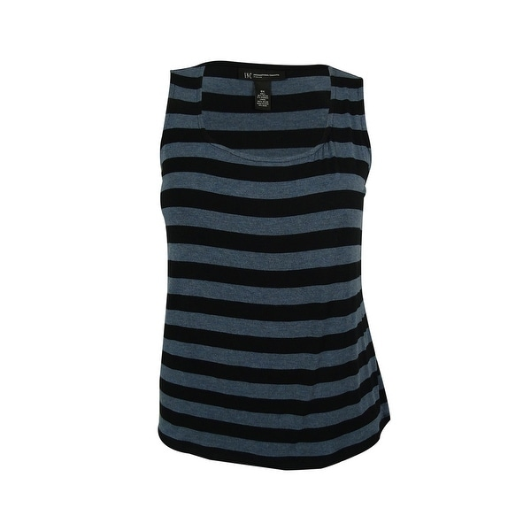 INC International Concepts Women's Striped Tank Top - black/heather blue