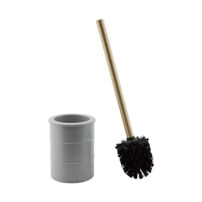 """Elle Décor Modern Ridge Design Toilet Brush & Holder in Grey - 4""""Rdx 15.75"""""""