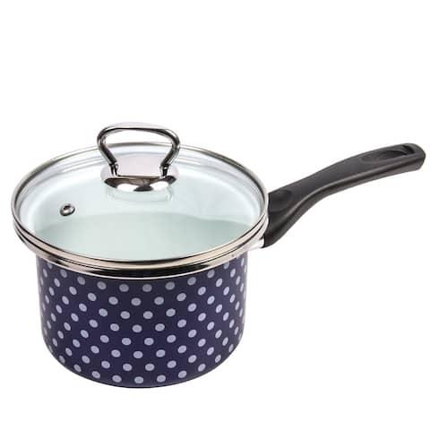 STP Goods Blue Polka Dot Enamel on Steel 1.6-quart Saucepan w/Lid