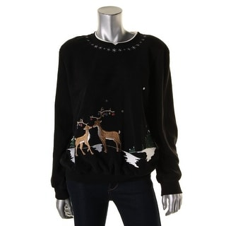 Alfred Dunner Womens Embellished Embroidered Sweatshirt - M