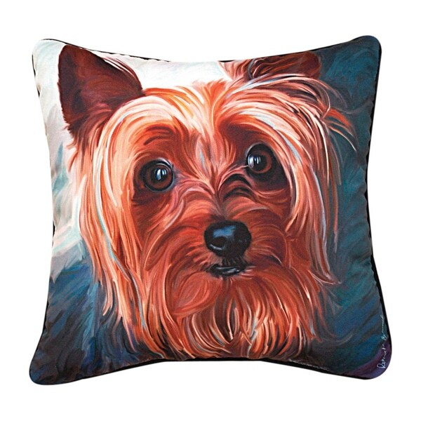"18"" Robert McClintock ""Yorkie Style"" Square Throw Pillow"