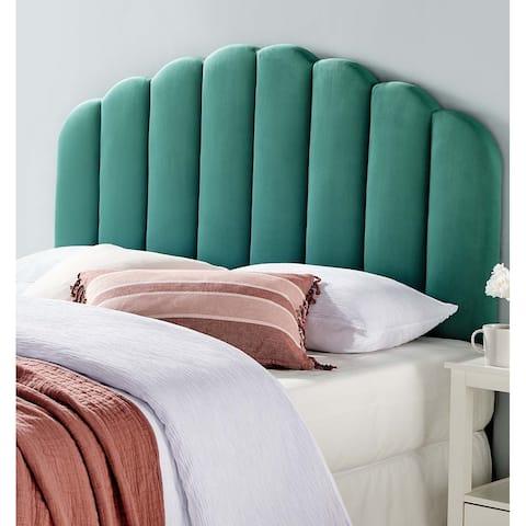Burney Scalloped Green Velvet Upholstered Full/Queen Size Headboard