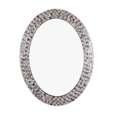 Mosaic Seashell Wall Mounted Accent Mirror - 35.04 x 26.77