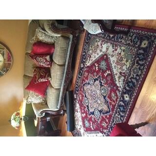Safavieh Handmade Heritage Traditional Heriz Red/ Navy Wool Rug (5' x 8')