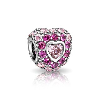 Bling Jewelry 925 Sterling Silver Red CZ Heart Bead Charm
