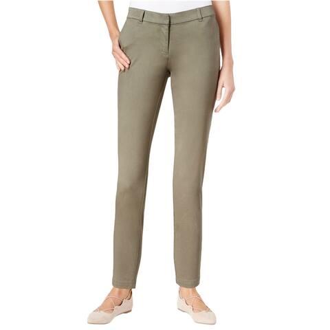 maison Jules Womens Ankle Length Skinny Dress Trousers, green, 6