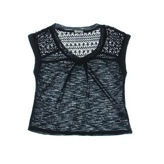 Eyeshadow Womens Juniors Pullover Top Slub Crochet Trim - M