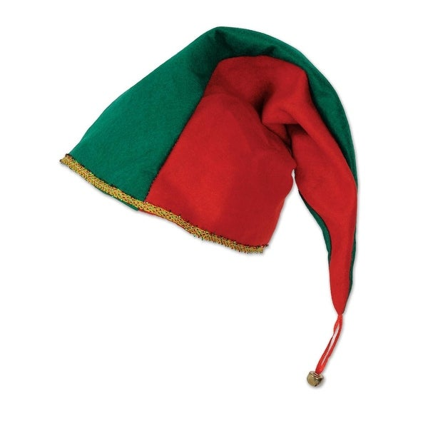 Pack of 6 Green and Red Jingle Elf Christmas Hat Costume Accessories