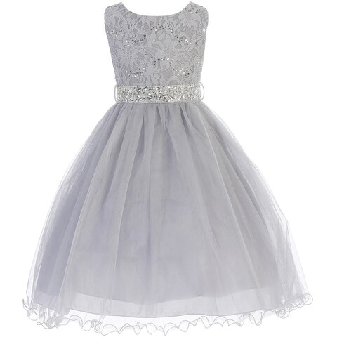 Flower Girl Dress Glitter Sequin Top & Rhinestone Sash Silver JK 3670