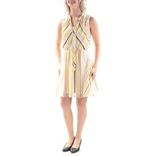 Womens Yellow Sleeveless Above The Knee A-Line Casual Dress Size: 10