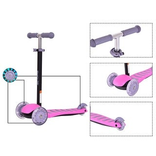 Goplus 3 LED Light Up PU Wheels Kids Kick Scooter Adjust Handle Bar Christmas Gift - Pink