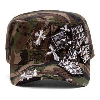 TopHeadwear Studded Cross Distressed Cadet Cap