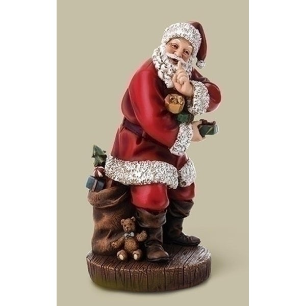 """10"""" Joseph's Studio Sneaky Santa Claus with Gifts Table Top Christmas Decoration"""