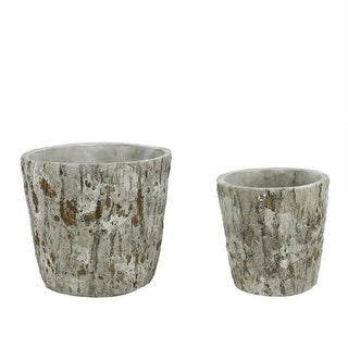 Set of 2 Brown and Gray Tree Bark Inspired Millcreek Cachepot Flower Planters 7.25""