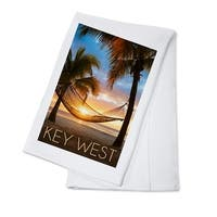 Key West, FL - Hammock & Sunset - LP Photography (100% Cotton Towel Absorbent)