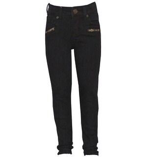Mini Moca Little Girls Dark Blue Zippered Front Pockets Skinny Jeans 4-6X