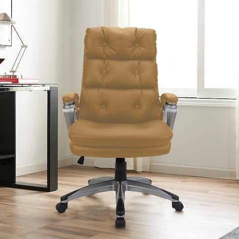 Leather Tufted Ergonomic High Back Adjustable Height Executive Office Chair with Lumbar Support