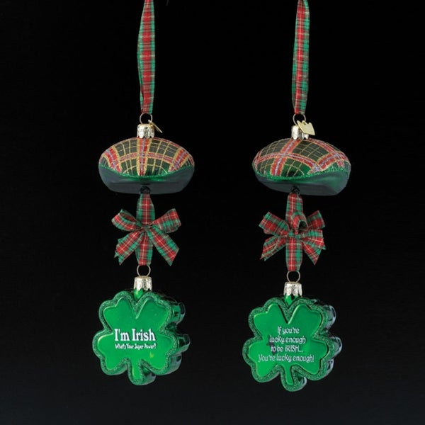 "9"" Noble Gems Luck of the Irish Glittered Glass Plaid Cap with Shamrock Christmas Ornament"