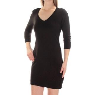 BCX Womens New 1234 Black 3/4 Sleeve V Neck Mini Body Con Dress M Juniors B+B