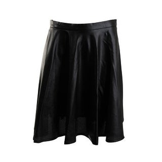 Lucy Paris Womens Faux Leather Perforated Flare Skirt