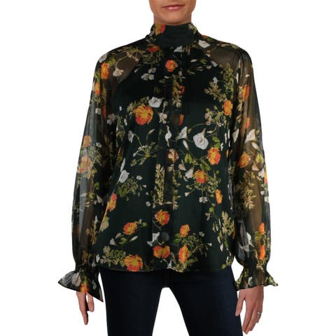 Lauren Ralph Lauren Womens Ratana Blouse Floral Long Sleeves