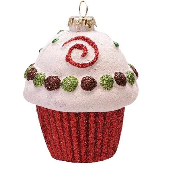 """Merry & Bright Red, White and Green Glitter Shatterproof Cupcake Christmas Ornament 3.25"""" - RED"""