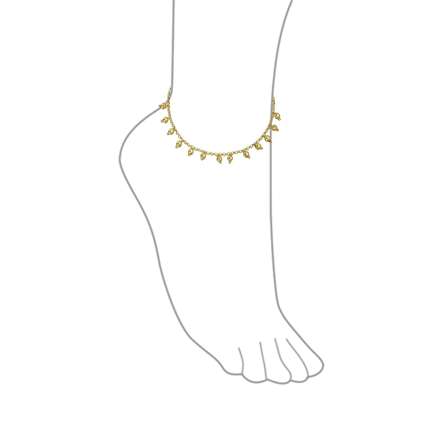 Bling Jewelry Three Multi Lucky Elephant Charm Anklet Ankle Bracelet for Women 18K Gold Plated Brass 9.5Inch