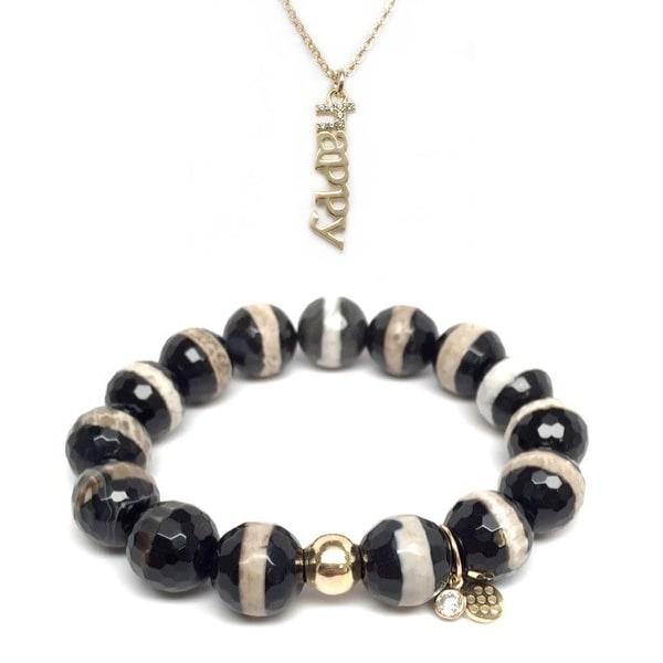 "Black & White Agate 7"" Bracelet & CZ Happy Gold Charm Necklace Set"