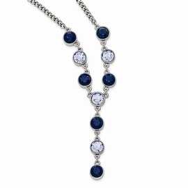 Silvertone Light and Dark Blue Crystal Dangle Necklace - 16in