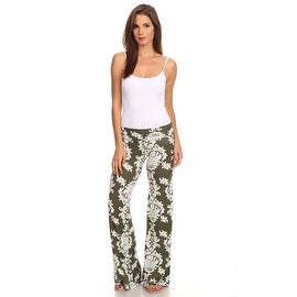 Women's Damask Olive Printed Palazzo Pants Made in USA