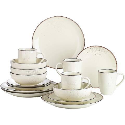 vancasso Navia Nature Dinner Set Stoneware Vintage Look Ceramic,16 Pieces Cream - 8' x 10'