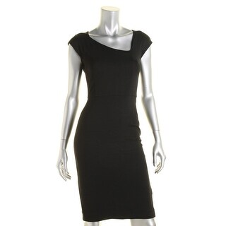 French Connection Womens Asymmetric Cap Sleeve Cocktail Dress
