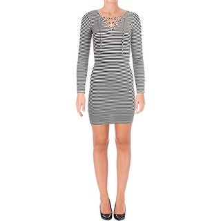 Denim & Supply Ralph Lauren Womens Casual Dress Ribbed Knit Lace Up