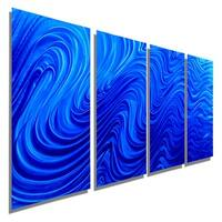 Statements2000 4-Panel Blue Modern Abstract Metal Wall Art Painting by Jon Allen - Blue Hypnotic Sands 4P