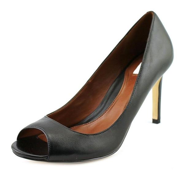 Cole Haan Fair Haven OT Pump Women Open-Toe Leather Black Heels